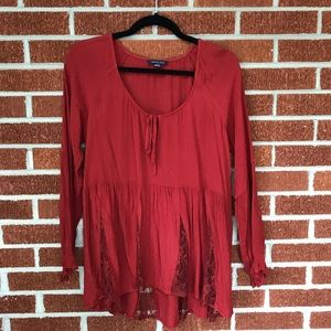 American Eagle red boho top in size M